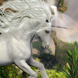 Unicorn and Yucca Plant. A beautiful white unicorn prances with its wild mane flowing and muscles shining royalty free illustration