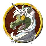 Zombie Unicorn Horse. A unicorn zombie in an undead semi-deteriorated state grotesque mythical horse stock illustration