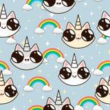 Unicorni dei gatti e un arcobaleno gatti dell'unicorno su un fondo blu Fotografie Stock Libere da Diritti