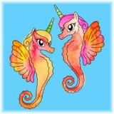 Unicorni del mare di Watercolored fotografie stock libere da diritti