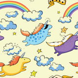 Unicorni ed arcobaleno di volo Fotografia Stock