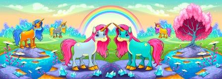 Unicorni felici in un paesaggio dei sogni Immagini Stock Libere da Diritti