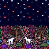 Unicorni nella foresta magica Fotografia Stock
