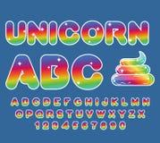 Unicornio ABC Fuente del arco iris Cartas multicoloras Foto de archivo libre de regalías