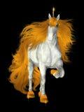 Unicornio blanco con una melena de oro Foto de archivo