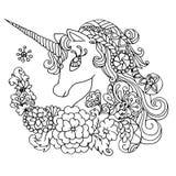 Unicornio blanco fabuloso del libro de colorear Fotos de archivo