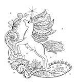Unicornio blanco fabuloso del libro de colorear Foto de archivo
