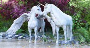 Unicornio blanco mítico y Pegaso de la fantasía en un bosque encantado stock de ilustración