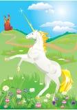 Unicornio blanco que se alza para arriba en sus piernas traseras libre illustration