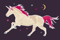 Unicornio, caballo, historieta, vector, luna libre illustration