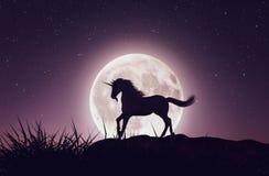 Unicornio con el claro de luna libre illustration