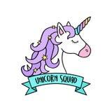 Unicornio con el ejemplo del vector de la cinta de la menta libre illustration