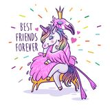 Unicornio con el flamenco Mejores amigos por siempre Coche del saludo del vector libre illustration