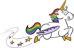 Unicornio con el vuelo colorido del pelo y de la cola ilustración del vector