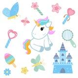 Unicornio con los elementos mágicos del diseño Foto de archivo libre de regalías