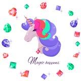 Unicornio con los ojos cerrados Diamantes y cristales Ultravioleta apacible de las sombras libre illustration
