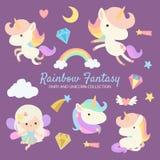 Unicornio de hadas de la fantasía del arco iris libre illustration