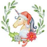 Unicornio de la acuarela de la Navidad con las guirnaldas y el sombrero florales de santa Fotografía de archivo
