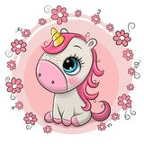 Unicornio de la historieta en un fondo de las flores stock de ilustración