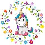 Unicornio de la historieta en un marco de las flores stock de ilustración