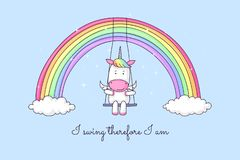 Unicornio de la historieta que balancea en un arco iris stock de ilustración
