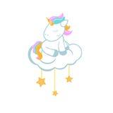 Unicornio de la historieta que se sienta en la nube Fotos de archivo