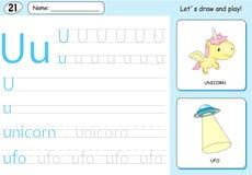 Unicornio de la historieta y UFO Hoja de trabajo de trazado del alfabeto: A-Z de la escritura Fotografía de archivo libre de regalías