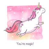 Unicornio de la magia de la historieta Foto de archivo libre de regalías