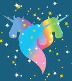 Unicornio del arco iris Cielo azul estrellado Símbolo de la comunidad de LGBT ilustración del vector