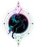 Unicornio del arco iris sobre elementos sagrados del diseño de la geometría Alquimia, p stock de ilustración