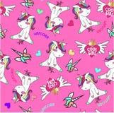 Unicornio del bebé y corazón fresco de la muchacha con el modelo rosado del fondo libre illustration
