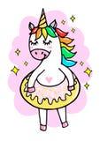 Unicornio divertido lindo con un buñuelo en un fondo rosado, ejemplo de la historieta del vector fotografía de archivo