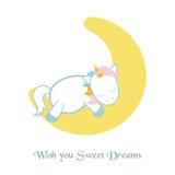 Unicornio dormido en la luna Foto de archivo libre de regalías