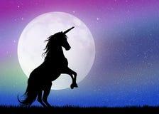 Unicornio en el claro de luna Foto de archivo