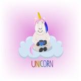 Unicornio en el ejemplo del vector de la nube Imagen de archivo