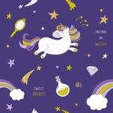 Unicornio en el modelo inconsútil del cielo nocturno con las estrellas, el arco iris y los cometas Personaje de dibujos animados  libre illustration