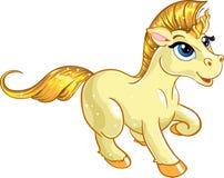 Unicornio fabuloso del bebé del oro Fotos de archivo libres de regalías