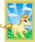 Unicornio fabuloso en el paisaje del cuento de hadas Imagen de archivo