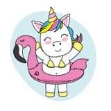 Unicornio feliz con el flotador Imagen de archivo libre de regalías