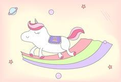Unicornio femenino lindo con la silla de montar de la corona de la princesa Imágenes de archivo libres de regalías