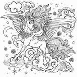 Unicornio hermoso con una melena larga Rebecca 36 Para colorear Para el diseño de impresiones gráficas, ejemplos Vector libre illustration