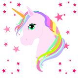 Unicornio hermoso de la web en las nubes con el ejemplo de las estrellas, vector libre illustration