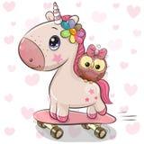 Unicornio lindo con el búho en un monopatín libre illustration