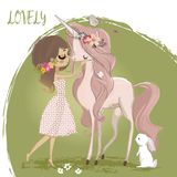 Unicornio lindo con la muchacha libre illustration