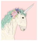 Unicornio lindo con las flores Vector del cuento de hadas Foto de archivo