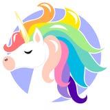 Unicornio lindo de la cara con el pelo del arco iris Ejemplo del personaje de dibujos animados del vector Diseño para la tarjeta  ilustración del vector