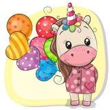 Unicornio lindo de la historieta con los globos stock de ilustración