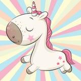 Unicornio lindo de la historieta en un fondo coloreado ilustración del vector