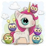 Unicornio lindo de la historieta y cinco búhos stock de ilustración