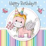 Unicornio lindo de la tarjeta de felicitación stock de ilustración